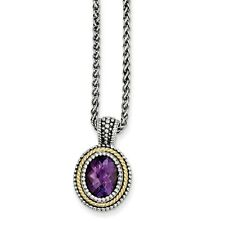 Sterling Silver w/14k Gold Accent Amethyst Semi-Precious Stone Necklace