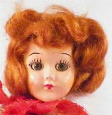 Vintage Hard Plastic Doll Crochet Dress Red Velvet Cape Red Hair As Is