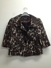 Atmosphere - Brown Mix Leopard Print Half Sleeve Buttoned Jacket Uk 12 (S770)