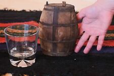 VTG ANTIQUE SMALL WHISKEY BRANDY WOODEN FLASK CANTEEN KEG BARREL IRON BANDED