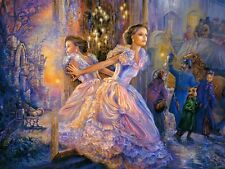 FANTASY LADY IN SPECCHIO MOSAICO Diamond dipinto KIT 30 x 40 cm come Cross Stitch