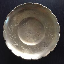 Fine Old Chinese Brass Lobed Tray Offering Dish Etched Flower Art SIGNED NR
