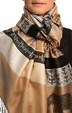 Silver Lurex and Elephants On Beige Pashmina With Tassels (SF002632)
