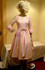Vintage Party Dress Sz S Pastel Cotton Blend 1950s fitted Ruffle 3/4 Sleeves