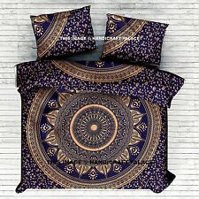 Indian Duvet Doona Cover Comforter Blue Gold Ombre Mandala Queen Quilt Cover Set