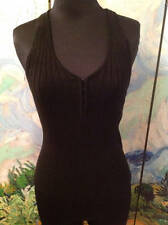 GUESS NEW M CLUBWEAR BLACK HOOK & EYE CLOSURE SLEEVELESS FITTED SWEATER TOP