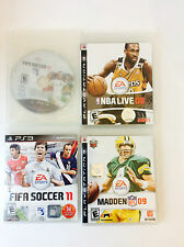Playstation 3 Video Game Lot of 4 Madden NFL 09, NBA Live 08 FIFA Soccer 11 & 12