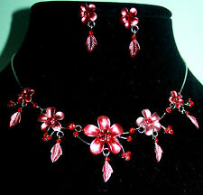 Floral Red Rhinestone Necklace Earring Austrian Crystal Set Bridal Prom Jewelry