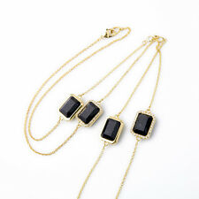2016 Spring Black Square Long Station Necklace Or Double Geometric One Direction