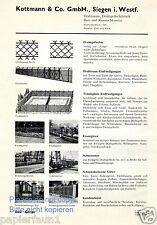 Drahtzaun Kottmann Siegen Reklame von 1935 Maschendrahtzaun Draht Schlosserei