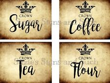 Primitive Canister Labels Pantry Crown Grungy Stickers 8 Total Sugar Coffee Tea