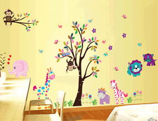 huge animals Nursery Decor Tree  Art Decal Removable wall Stickers kids room