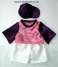 JOCKEY OUTFIT IN PINK & PURPLE - FITS TEDDY BEARS 16 INCH / 40CM TALL – MADE UK