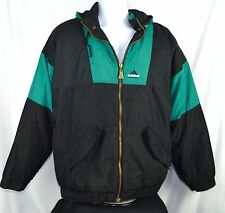 VTG 90s ADIDAS Equipment Logo Windbreaker XL Hooded Jacket Lined Black O23