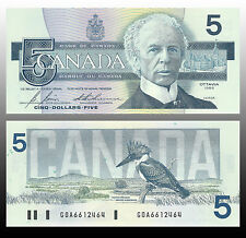Canada 1986 (five) $5 Dollar Bill Canadian Note Mint Uncirculated CRISP