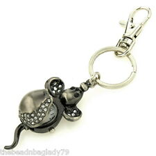 NEW FIRST HAND MICE MOUSE with Crystals KEYCHAIN WATCH SILVER PLATED