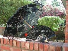 Black Battenburg Lace Sun Parasol w/Lace Fan