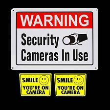 METAL SECURITY SIGNAGE VIDEO SURVEILLANCE CAMERAS WARNING SIGN+STICKERS LOT