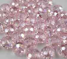 100pcs 4mm Jewelry Faceted Rondelle crystal #5040 3x4mm Beads Pink ab colors B-1