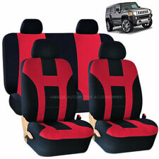 RED & BLACK DOUBLE STITCH SEAT COVERS 8PC SET for HUMMER H1 H2 H3