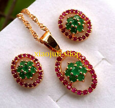 FINE TOP CLASS NATURAL RUBY& GREEN EMERALD NECKLACE & EARRINGS Gold SET