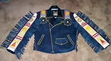 VOLCANO LEATHER MOTORCYCLE JACKET NATIVE AMERICAN BUFFALO DESIGN SZ. LARGE EUC