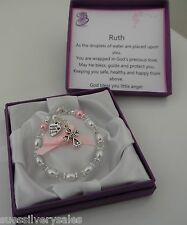 Baby Girl Boy christening gift personalised bracelet  Baptism naming day