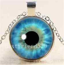 Blue Eye Photo Cabochon Glass Tibet Silver Chain Pendant  Necklace