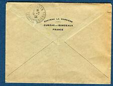 FRANCE - Enveloppe du Château La Barrière Cubzac les Bordeaux 1934   réf S 146