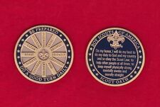 SCOUT OATH Challenge Coin Law Motto Slogan BSA Cub Boy Scouts Large Heavy MINT