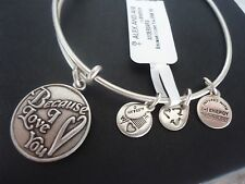 Alex and Ani BECAUSE I LOVE YOU Russian Silver Charm Bangle New W/Tag Card & Box