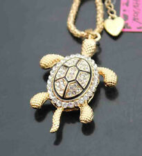D583   Betsey Johnson Crystal shiny Turtle Pendant Sweater Chain Necklace