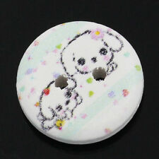 25 Round Wooden Cartoon puppy design Buttons 15mm Sewing Scrapbook Crafts