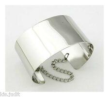 Bellissimo bracciale fascia larga rigido con catenella - Colore Argento