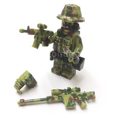 CUSTOM Camouflage Green Army Man Soldier Minifigure & Lego Bricks