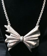 vintage sterling silver bow-tie and ope necklace,very heavy very #112