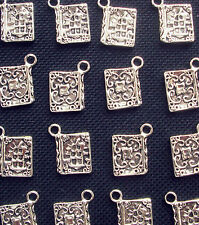 8 Book Charms Book of Shadows Pagan Goth Silver Tone Metal 17mm