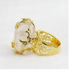 18K Yellow Gold Filled 100% Natural White Crystal Gemstone Cocktail Ring SZ 10.5