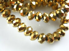 50pcs 8x6mm Gold Plated Rondelle Faceted Crystal Glass Loose Charms Beads
