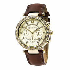 Michael Kors MK2249 Women's Gold Dial Brown Strap Chrono Watch