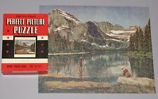 "VTG PERFECT PICTURE CT JIGSAW PUZZLE ""PARADISE LAKE"" FLY FISHING ROD CREEL CIB"