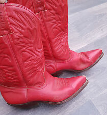 Womens Vintage Sancho Cowboy Boots Red Size UK 5 EU 38
