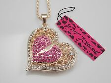 Betsey Johnson  fashion jewelry pink crystal heart pendant necklace # A103