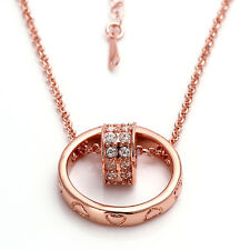 Fashion Womens Romantic Rose Gold Ring & Heart Charm Pendant Long Chain Necklace