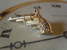 SUPERB VINTAGE NOS 12CT ROSE GOLD/P POCKET WATCH CHAIN REVOLVER/GUN FOB.