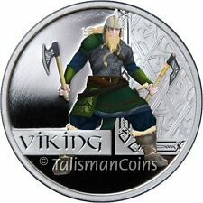 Perth Tuvalu 2010 Great Warriors #2 Viking Norseman $1 Pure Silver Dollar Proof