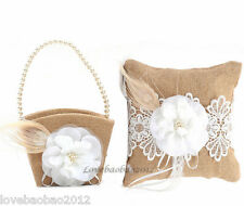 Burlap Hessian Lace Flower Rustic Wedding Ring Pillow and Flower Girl Basket Set