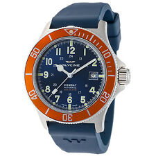 Glycine Men's 3908.18AT-O.D8 Combat Sub Automatic 42mm Blue Dial Orange Bezel
