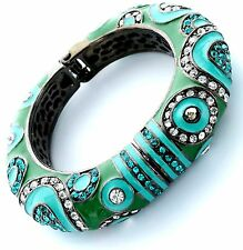 Beauty for Ashes Enamel Persian Princess Green Turquoise Hinged Cuff Bracelet