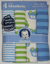 New Gerber Baby Blue Green Cars Stripes Cotton Flannel Receiving Blankets